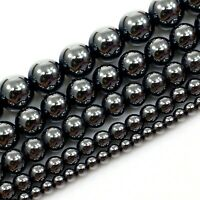 "Natural Gemstones Hematite Smooth Spacer Round Loose Beads 15"" 2 4 5 6 8 10 12mm"