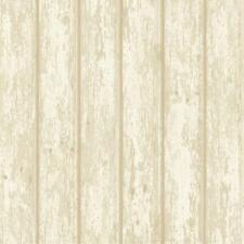 Wallpaper Almond Beige Cream White Faux Wood Weathered Shiplap Planks