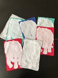 EIGHT VINTAGE COCKTAIL NAPKINS WITH APPLIQUE AND EMBROIDERED  ELEPHANTS