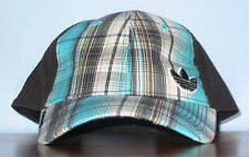 Adidas One Size Adjustable Hat Slouch Ball Cap Black with Blue Plaid Cotton