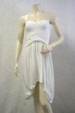 $348 BCBG WHITE (ACJ6G707) PLEATED STRAPLESS ACETATE DRESS NWT L