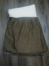 Waverly Garden Room Marquette Black Tan Check QUEEN Bedskirt Dust Ruffle Split