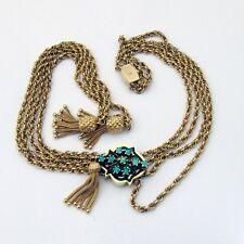 Vintage 14K Gold Slider Necklace Pineapple Tassels Opals Black Enamel