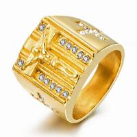 18k Gold Plated Stainless Steel Christian Catholic Cross Jesus Men's Ring M5