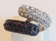 bague rétro couleur argent avec incrustation cristaux diamant et noir taille 48