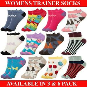 Womens Ankle Socks Ladies Girls Striped Cotton Rich Trainer Sock 3 & 6 Pairs 4-7