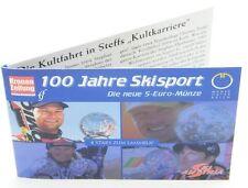 Österreich 5 Euro 2005 Skisport Silber im Miniblister Sonderedition 5€ vergoldet
