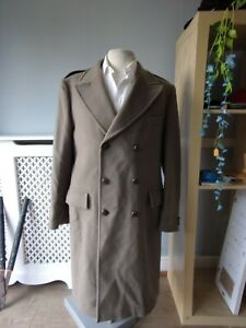 Mens Vintage tailored DUNN & CO Double Breasted Pure Wool Coat Overcoat 44 R