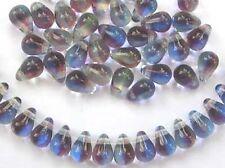 50 MULTI-COLOURED glass drop beads 4x6mm (tt004)