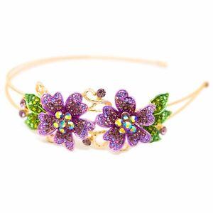 New Fashion Crystal Rhinestone Gold tone metal big Flower design Headband HD112
