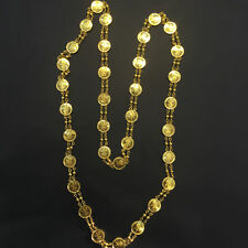 Beautiful Dubai Handmade Coin Chain Necklace In Fine Certified 18K Yellow Gold