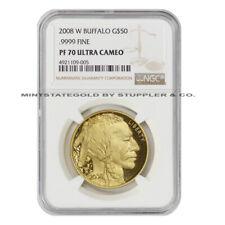 2008-W $50 Gold Buffalo NGC PF70UCAM Ultra Cameo Proof uncirculated coin 1oz