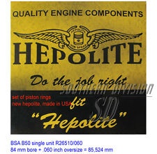 PISTON RING SET BSA b50 HEPOLITE r26510 .060 oversize Pistone Anello Set b50mx CCM