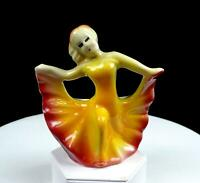 "SHAWNEE ART POTTERY ORANGE RED DANCING LADY 5"" MINI FIGURAL PLANTER 1945-52"