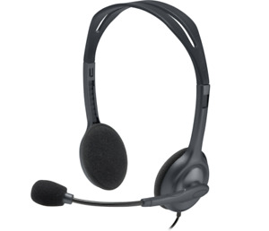 Logitech Stereo Headset H111 Wire 3.5mm Microphone BLACK Noise Cancellin PC MAC