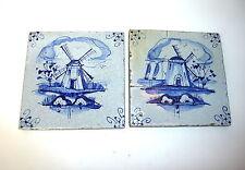 Zwei Fliesen Kacheln 18-19 Jh. Windmühle