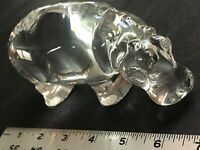 "Baccarat Hippopotamus Hippo Figure Crystal Paperweight 6.5"" Excellent Great"