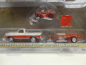 Greenlight 1972 FORD F-100 Pickup + 1920 INDIAN SCOUT + Trailer HITCH & TOW