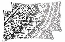 Pair of  Black & White Ombre Mandala Tapestry Pillow Sham Indian Cushion Pillows