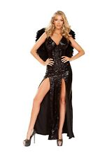 Roma Sexy Wicked Dark Angel Black Sequin Costume 4912