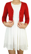 Vintage Women Cropped Cardigan 3/4 Sleeve Fitted V-Neck Soft Knit & Plus Size