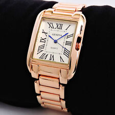 Rose Gold Geneva Large Classic Roman Rectangle Dial Women's Bracelet Watch