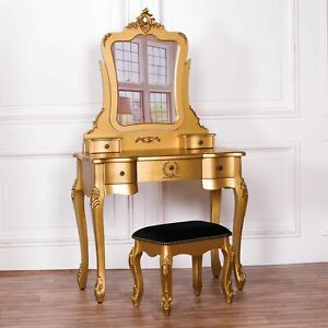 French Antique Gold Beautiful Dressing Drawers Table with Mirror And Stool