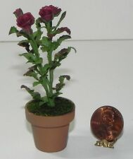 Dollhouse Miniature Rose Flower Bush Plant Burgundy Falcon Minis 1:12