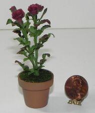 New listing Dollhouse Miniature Rose Flower Bush Plant Burgundy Falcon Minis 1:12