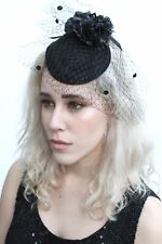 Black Net Veil Mini Top Hat Flowers 1920's Vtg Style Rockabilly Halloween