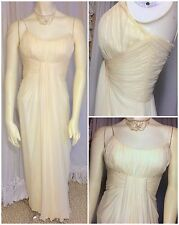 50s Edward Abbott Ivory Grecian Draped Silk Chiffon Evening Party Wedding Gown