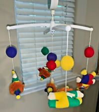 Vtg Dakin Clowns Balloons Musical Mobile Baby Nursery Crib Bed 1986 With Box