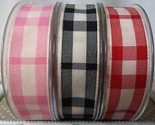 25mm Rustic Tartan Ribbon. Pink,Red,Black.Hair bow,Gift wrap,Cake,Card,christmas