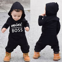 Toddler Kid Baby Letter Boy Girl Hoodie Cotton Outfit Romper Jumpsuit Set1 2-24M