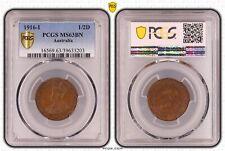 Australia 1916 I Halfpenny PCGS Ms63BN Choice Unc 8 Strong Pearls Stunning