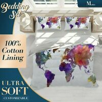 Watercolor Country Maps World Map Colourful Quilt Cover Cotton Doona with Shams