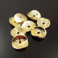 100 Stück Antike Goldene Runde Perlen Anhänger Schmuck Beads 10x8x1mm 32138