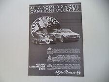 advertising Pubblicità 1982 ALFA ROMEO GTV 6 GTV6