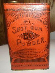 Antique E.C. No. 1 Shot Gun Powder Tin Patent Date 1879 American E.C. Powder Co