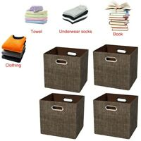Durable 4 Pcs Foldable Fabric Storage Bins Cubby Cubes with Handles Gray