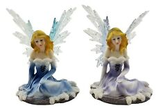 Ice Fairy PAIR Ornament Statue Figurine Sculpture Purple Blue Décor *14 cm*
