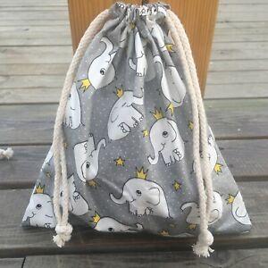 1pc Cotton Twill Drawstring Organizer Bag Party Gift Bag Print Elephant Gray  B#