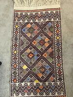 Antique Vintage Hand Made Crazy Mexican Embroidery Floor Mat Diamond 57in X 30in