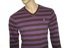 BNWT -  ORIGINAL PENGUIN Long Sleeve Striped V-Neck Top - Purple Brown Medium