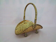Basket Mini Hammered Brass FIREWOOD Metal Rack Doll House Business Card Holder