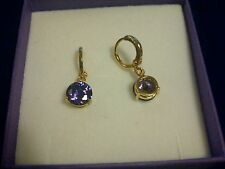 F09 Purple amethyst 8mm round dropper 18k gold gf hoop earrings BOXED Plum UK