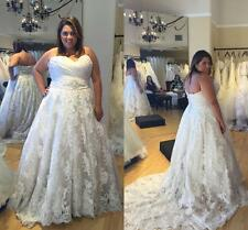 White/Ivory Wedding Dress Sweetheart Pleats A-Line Lace Chapel Train Bridal Gown