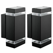 2er Set Wandlampe Up & Down schwarz für Außen IP44 inkl 2x GU10 3W warmweiß 230V