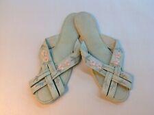 Vtg Silk Lt Green & Pink Boudoir Night Slippers Made in Japan X-S