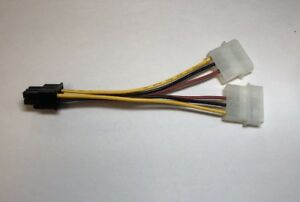 6 Pin PCI Express to Two 4 Pin Power Adapters Cable